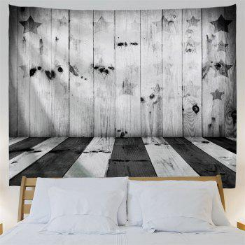 Stars and Stripes Woodgrain Print Tapestry Wall Decor - BLACK WHITE W59 INCH * L59 INCH