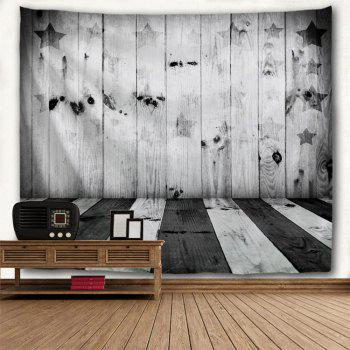 Stars and Stripes Woodgrain Print Tapestry Wall Decor - BLACK WHITE W91 INCH * L71 INCH
