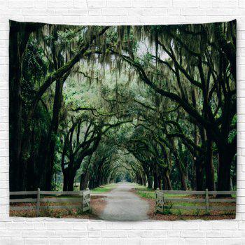 Trees Village Road Print Wall Hanging Tapestry - GREEN W59 INCH * L51 INCH