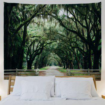 Trees Village Road Print Wall Hanging Tapestry - GREEN W79 INCH * L59 INCH