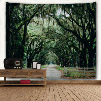 Trees Village Road Print Wall Hanging Tapestry - GREEN W79 INCH * L71 INCH