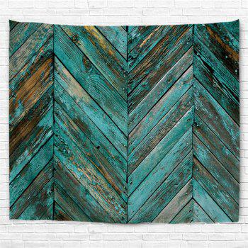 Retro Wooden Board Print Tapestry Wall Hanging Art - LAKE BLUE W59 INCH * L51 INCH