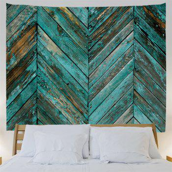 Retro Wooden Board Print Tapestry Wall Hanging Art - LAKE BLUE W91 INCH * L71 INCH