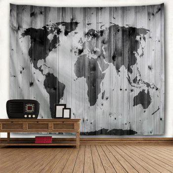 Wall Decoration World Map Woodgrain Pattern Tapestry - BLACK GREY W59 INCH * L51 INCH