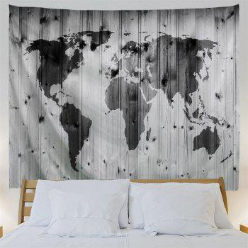 Wall Decoration World Map Woodgrain Pattern Tapestry - BLACK GREY W91 INCH * L71 INCH