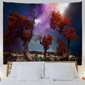 Trees Moor Night Sky Print Waterproof Wall Tapestry - COLORMIX W79 INCH * L59 INCH