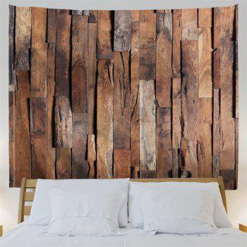 Wall Hanging Art Uneven Wooden Board Print Tapestry - BROWN W59 INCH * L59 INCH