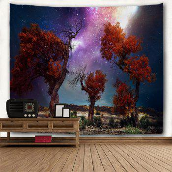 Trees Moor Night Sky Print Waterproof Wall Tapestry - COLORMIX W79 INCH * L71 INCH
