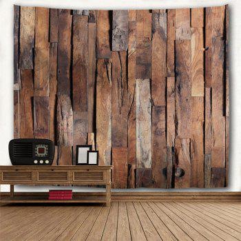 Wall Hanging Art Uneven Wooden Board Print Tapestry - BROWN W79 INCH * L71 INCH