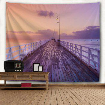 Dawn Wooden Bridge Print Wall Decor Tapestry - COLORMIX W91 INCH * L71 INCH