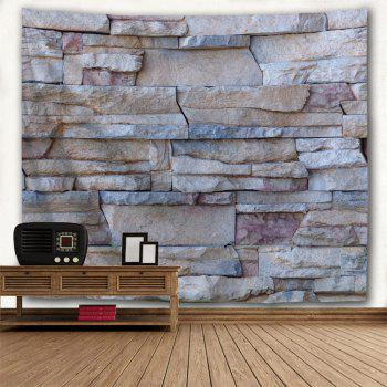 Wall Decoration Stone Brick Wall Pcattern Tapestry - GRAY W91 INCH * L71 INCH