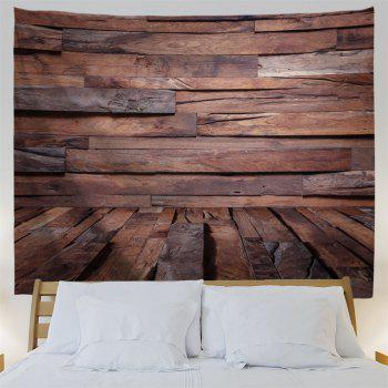 Irregular Wood Board Printed Wall Art Decor Hanging Tapestry - BROWN W59 INCH * L51 INCH
