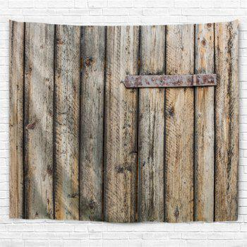 Shabby Wood Grain Door Printed Wall Art Decor Hanging Tapestry - YELLOW GREY W59 INCH * L51 INCH