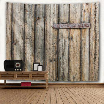 Shabby Wood Grain Door Printed Wall Art Decor Hanging Tapestry - YELLOW GREY W59 INCH * L59 INCH