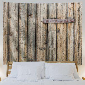Shabby Wood Grain Door Printed Wall Art Decor Hanging Tapestry - YELLOW GREY W91 INCH * L71 INCH