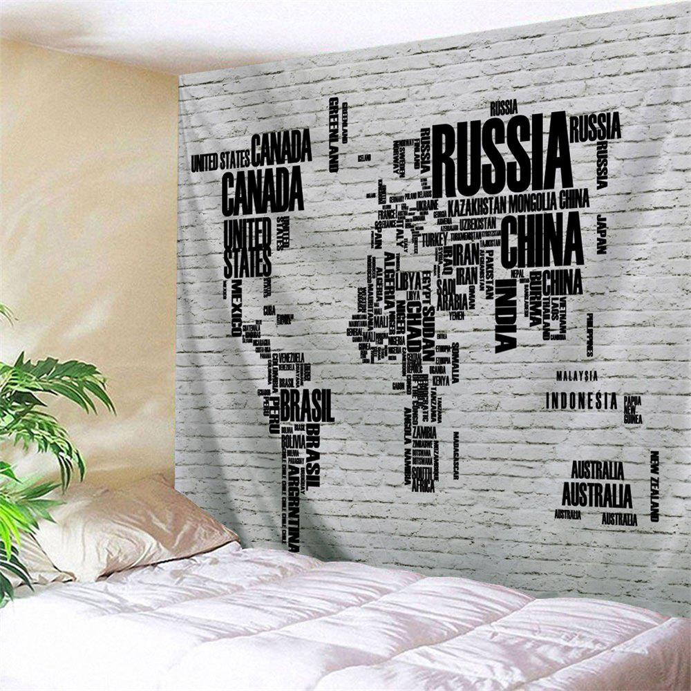 World Map Letter Print Brick Wall Tapestry - COLORMIX W79 INCH * L59 INCH