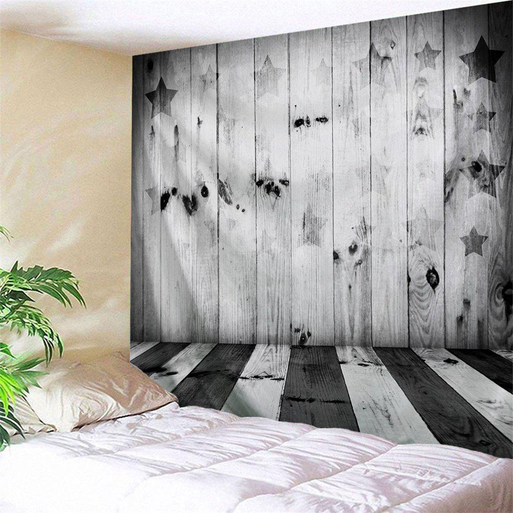 Stars and Stripes Woodgrain Print Tapestry Wall Decor - BLACK WHITE W59 INCH * L51 INCH