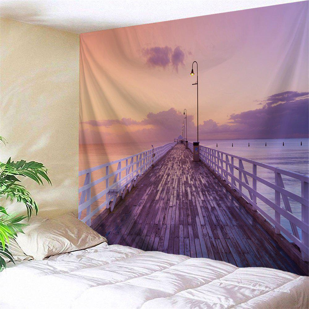 Dawn Wooden Bridge Print Wall Decor Tapestry - COLORMIX W59 INCH * L59 INCH