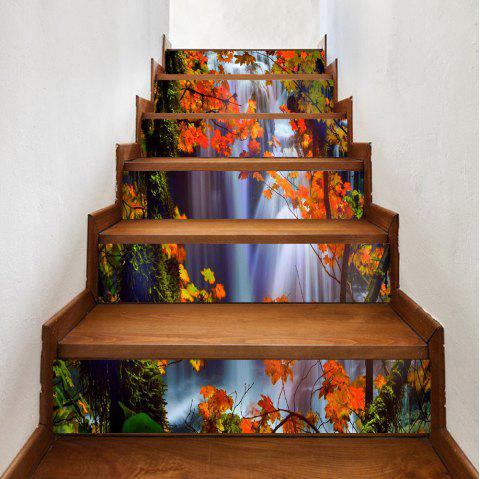 Waterfall Maple Leaf Pattern Stair Stickers - COLORMIX 100*18CM*6PCS