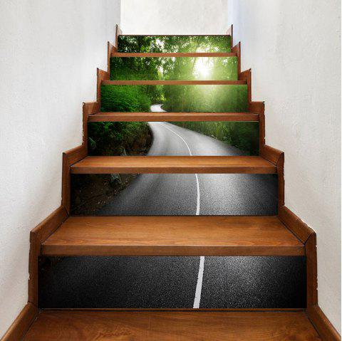 Way In The Forest Pattern Stair Stickers - GREEN 100*18CM*6PCS