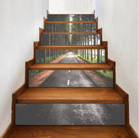 Highway In The Forest Pattern Stair Stickers - GREEN 100*18CM*6PCS