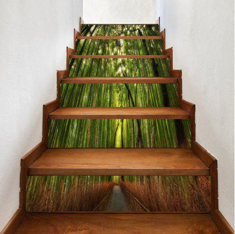 Path In The Bamboo Forest Pattern Stair Stickers - GREEN 100*18CM*6PCS