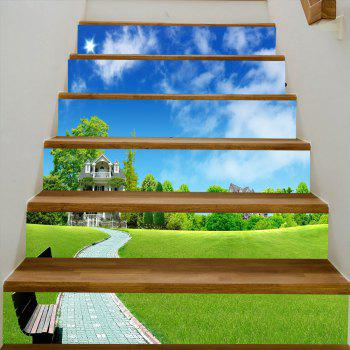 Clouds Sky Grassplot Pattern Stair Stickers - GREEN 100*18CM*6PCS