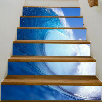 Sea Wave Pattern Stair Stickers - SEA BLUE 100*18CM*6PCS