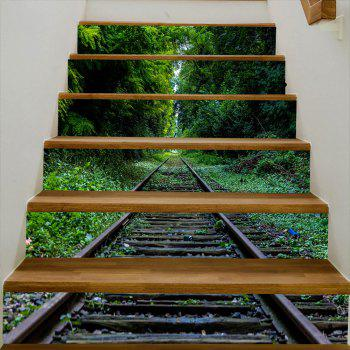 Rail In The Forest Pattern Stair Decals - GREEN 100*18CM*6PCS