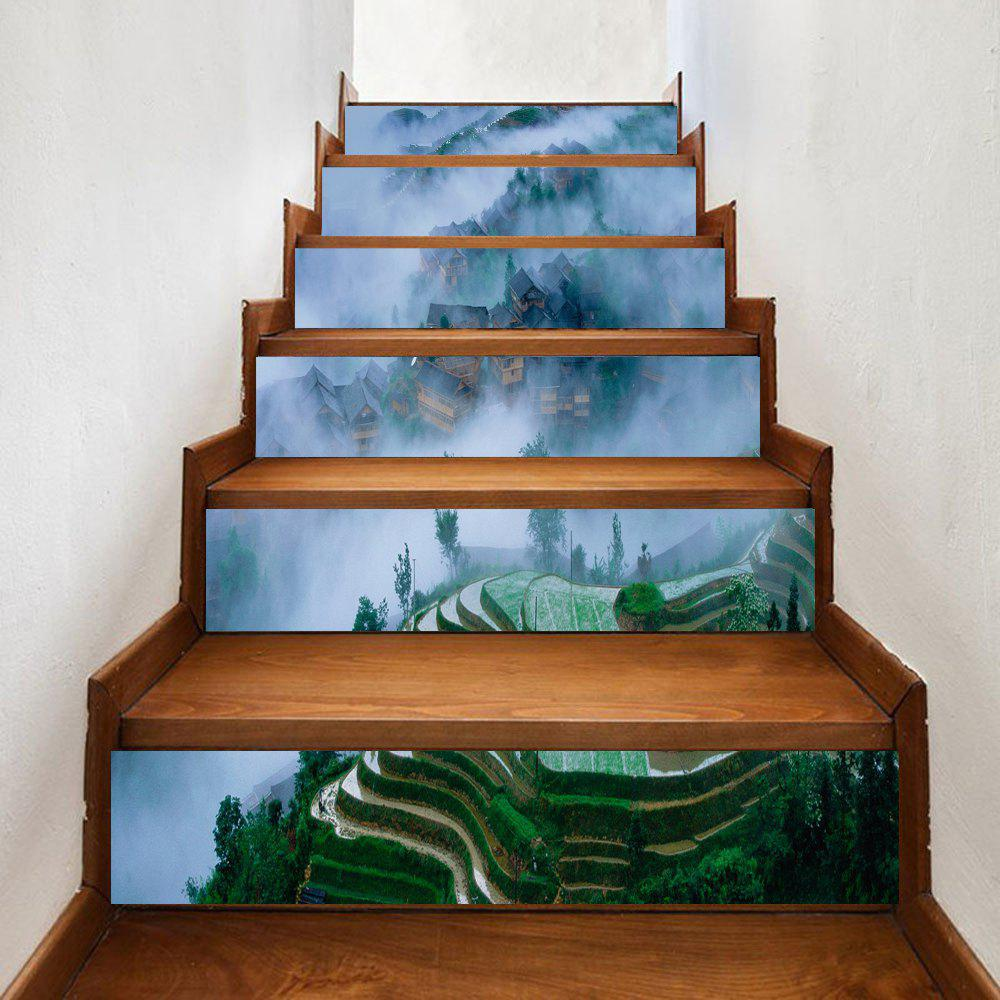 Mountains Village Print Stair Stickers - GREEN 100*18CM*6PCS