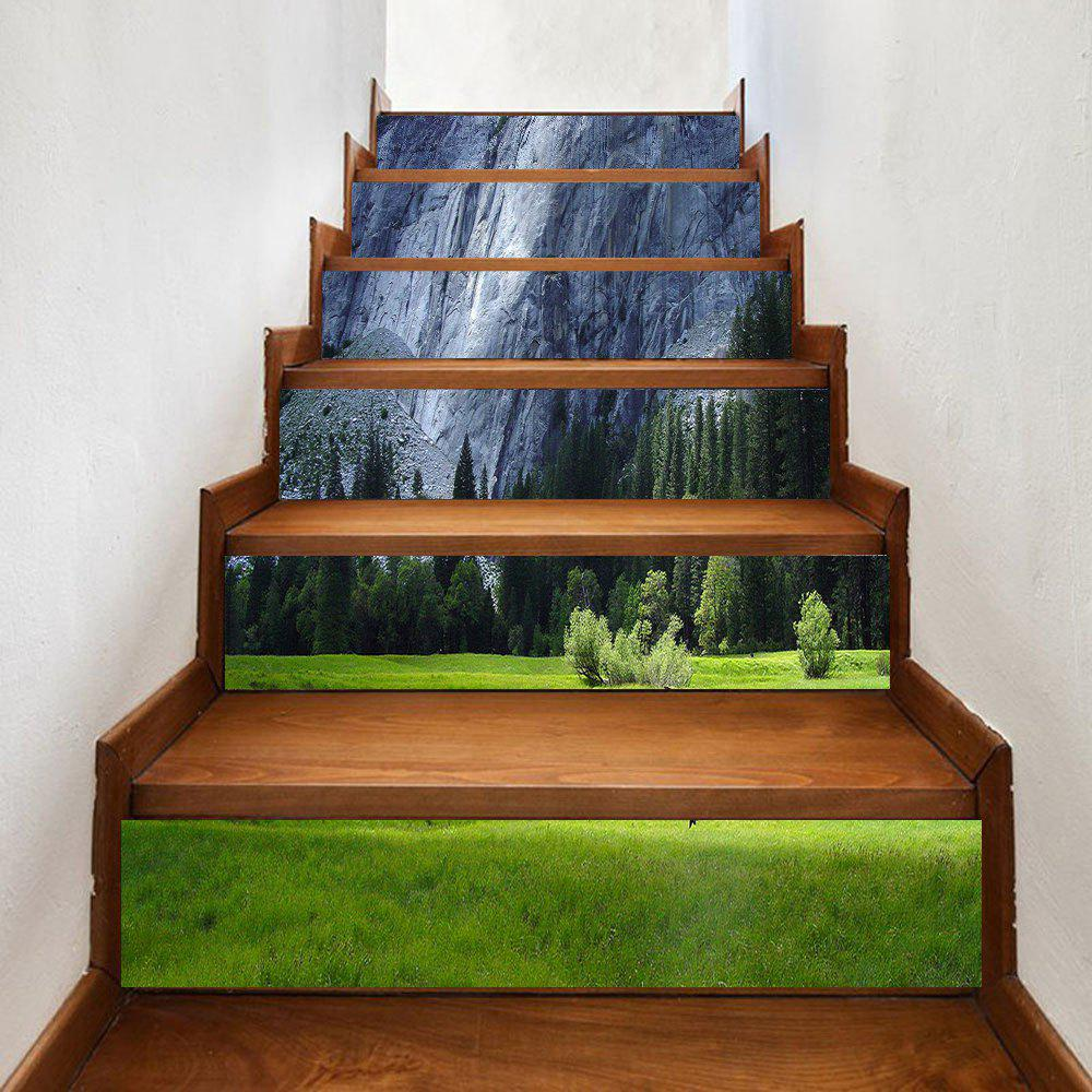 Greensward Pine Trees Cliff Pattern Decorative Stair Decals - GREEN 100*18CM*6PCS