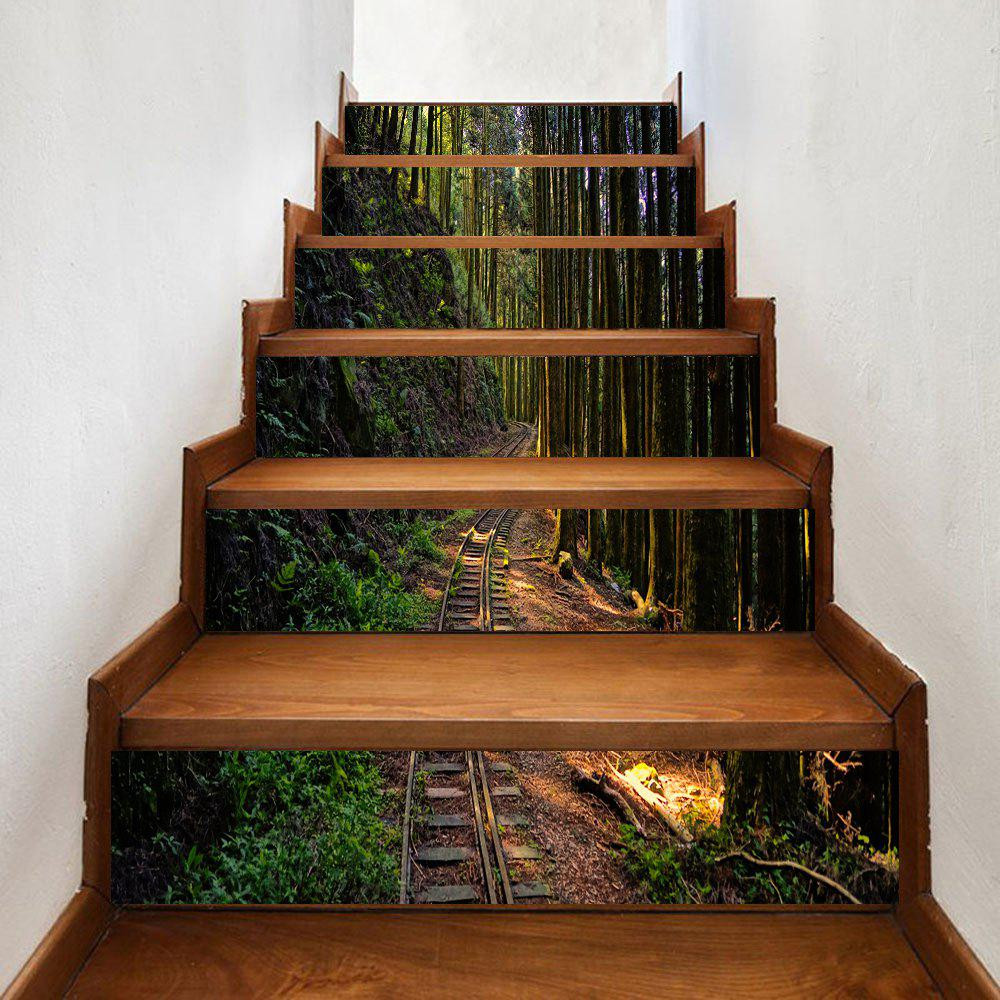 Rail In The Forest Print Stair Stickers - GREEN 100*18CM*6PCS