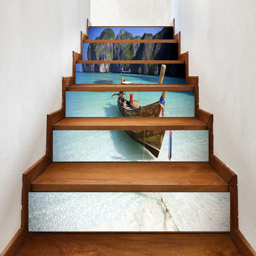 Beach Boat Print Stair Stickers - COLORMIX 100*18CM*6PCS