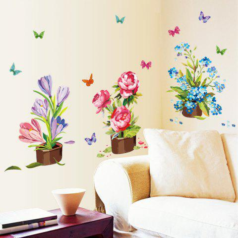 AY7274 3D Flower Potting Pattern Wall Sticker Home Decoration - multicolor