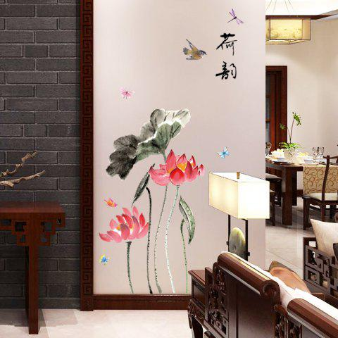 3D Wall Stickers, Peel and Stick Wallpaper, Chinese Style Lotus Self-Adhesive Wall Decals for Bedroom Living Room Kid's Room Home Decor Poster, 60 x 90 cm - multicolor 60CM*90CM