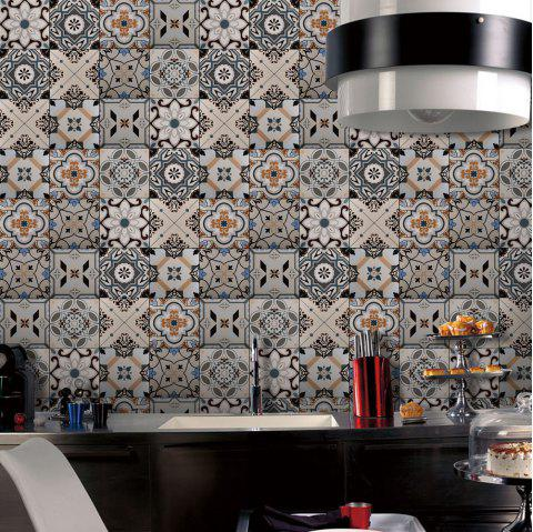 European Style Ceramic Tiles PVC Adhesive Wallpaper Sticker for Kitchen Bathroom Decoration - multicolor