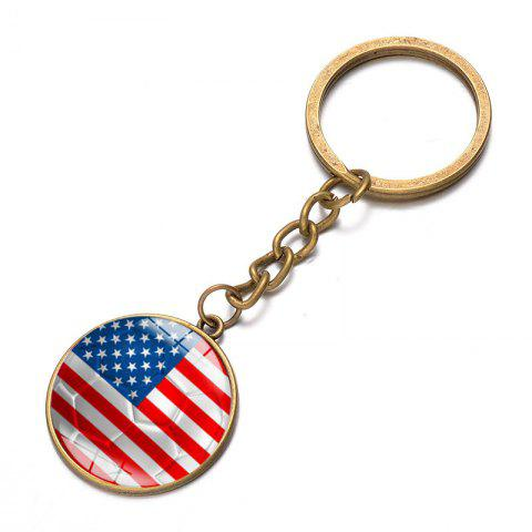 Football National Flag Model Keychain for 2018 FIFA World Cup Patriotic Key Ring Soccer Fans Travel Souvenir Car Accessories - BRONZE USA FLAG