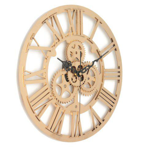European Vintage DIY Gear Mechanism Wall Clock for Home Decoration - GOLD