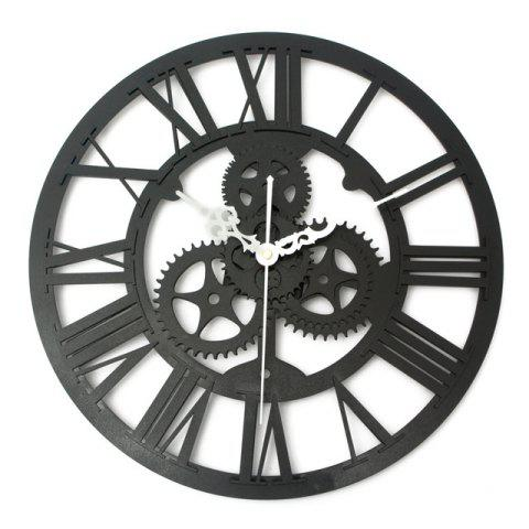 European Vintage DIY Gear Mechanism Wall Clock for Home Decoration - BLACK