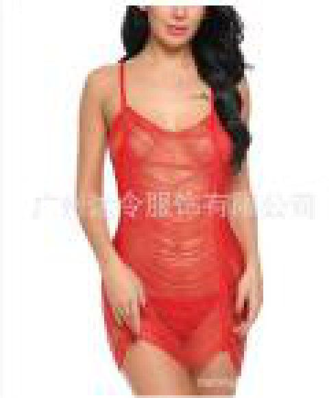 Women Sexy See-Through Rringe Babydoll Lingeries Sleepdress - RED XL