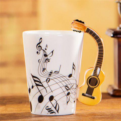 Musical Note Acoustic Guitar Ceramic Drink Tea Coffee Mug Cup - WHITE FREE NOTE