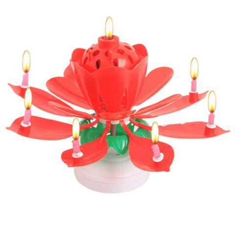 Musical Lotus Birthday Candles Holder Double Layer Rotation Flower Blossom Cake Topper Decoration 1pc