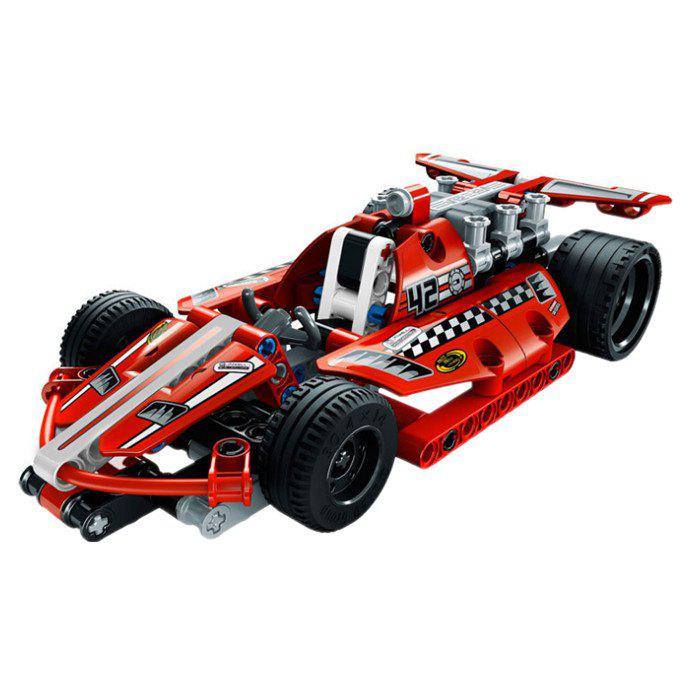 Pull Back Super Racing Car Block Children Assembling Toy - RED
