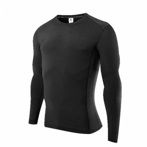 Compression T-Shirt Men Tight Jersey Fitness Sport Suit Gym Blouse Running Shirt Black Bodybuilding Sportswear Lshen504 - BLACK M