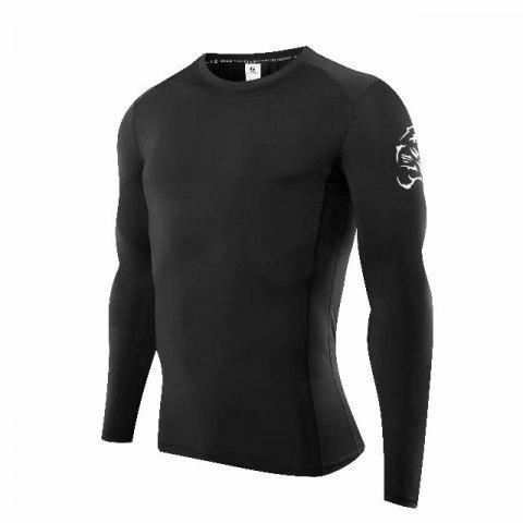 Compression T-Shirt Men Tight Jersey Fitness Sport Suit Gym Blouse Running Shirt Black Bodybuilding Sportswear Lshen503 - BLACK M