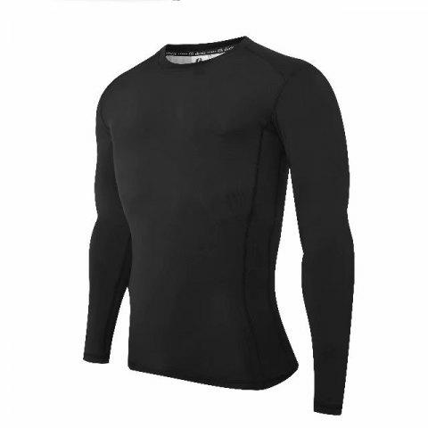 Compression T-Shirt Men Tight Jersey Fitness Sport Suit Gym Blouse Running Shirt Black Bodybuilding Sportswear Lshen  502 - BLACK L
