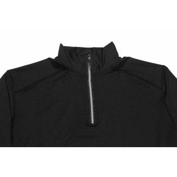 Men's No Breaks 1/4 Zip Long Sleeve Running Shirt Under Base Layers Top - BLACK L
