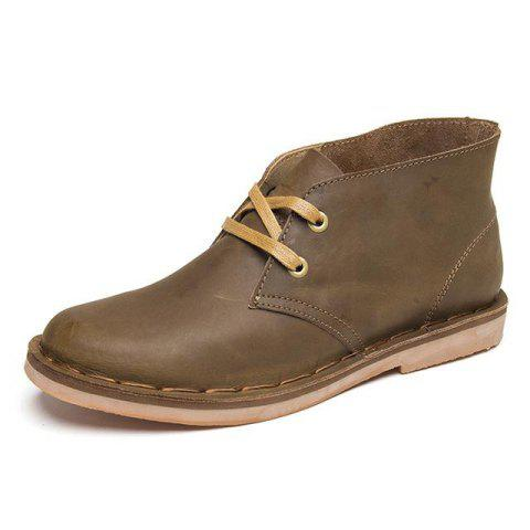 Casual Leather Solid Color Ankle Boots for Man - BROWN 44