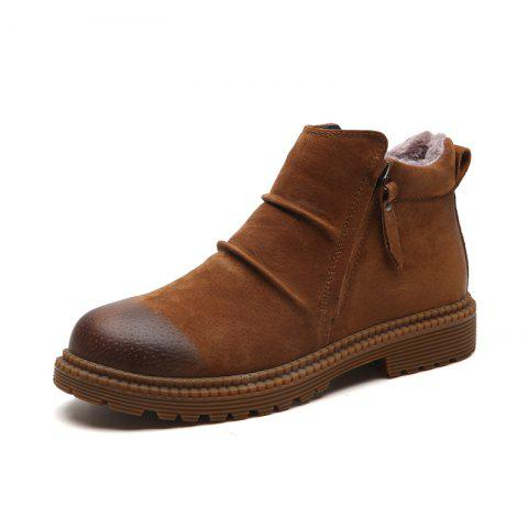 Vintage High Top Warm Boots - BROWN 41