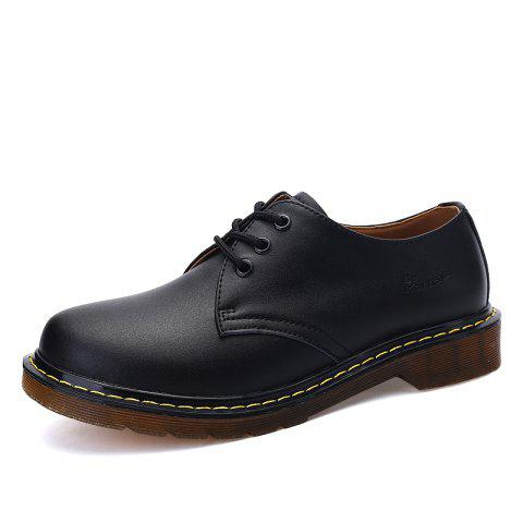 Men's Oxford Shoes Genuine Leather Sewing Thread - BLACK EU 45